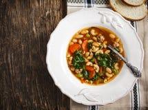 Σούπα λουκάνικων και κατσαρού λάχανου στοκ φωτογραφία με δικαίωμα ελεύθερης χρήσης