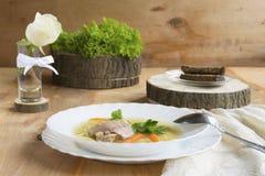 σούπα πιάτων κοτόπουλου Στοκ Εικόνες