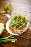 Σούπα πουρέ με τα πράσινα μπιζέλια, τα παστωμένα αγγούρια και croutons Στοκ Εικόνες