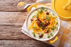 Σούπα πουρέ πατατών με την κινηματογράφηση σε πρώτο πλάνο μπέϊκον και τυριού Cheddar σε ένα τηγάνι Hori Στοκ Φωτογραφίες