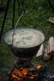 Σούπα που μαγειρεύεται στην πυρκαγιά Στοκ Εικόνα