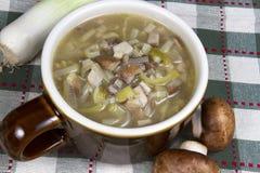 Σούπα πράσων και μανιταριών Στοκ Εικόνα