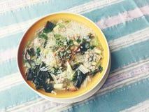 Σούπα ρυζιού με τα λαχανικά, chickenin και χοιρινό κρέας στο άσπρο κύπελλο ύφος Ταϊλανδός τροφίμων στοκ εικόνα