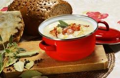 Σούπα σέλινου με τη φασκομηλιά και μπέϊκον σε ένα τηγάνι Στοκ φωτογραφία με δικαίωμα ελεύθερης χρήσης