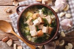 Σούπα σκόρδου με croutons την κινηματογράφηση σε πρώτο πλάνο σε ένα κύπελλο Οριζόντια κορυφή vie Στοκ φωτογραφία με δικαίωμα ελεύθερης χρήσης