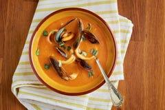 Σούπα σούπας με θαλασσινά θαλασσινών με τα μύδια, τα δαχτυλίδια calamari και τα ψάρια Στοκ εικόνα με δικαίωμα ελεύθερης χρήσης