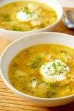 Σούπα σολομών με το κρεμμύδι και αυγό χορταριών στο άσπρο κύπελλο Στοκ εικόνες με δικαίωμα ελεύθερης χρήσης