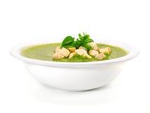 Σούπα σπανακιού και βασιλικού Στοκ Εικόνες