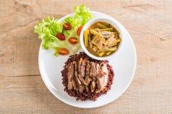 σούπα σπανακιού νερού χοιρινού κρέατος και κάρρυ με το ρύζι μούρων Στοκ φωτογραφία με δικαίωμα ελεύθερης χρήσης