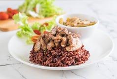 σούπα σπανακιού νερού χοιρινού κρέατος και κάρρυ με το ρύζι μούρων Στοκ εικόνες με δικαίωμα ελεύθερης χρήσης