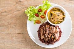 σούπα σπανακιού νερού χοιρινού κρέατος και κάρρυ με το ρύζι μούρων Στοκ φωτογραφίες με δικαίωμα ελεύθερης χρήσης