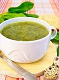 Σούπα της πρασινάδας στο ύφασμα με τα αυγά ορτυκιών Στοκ φωτογραφία με δικαίωμα ελεύθερης χρήσης
