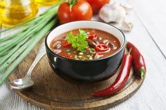Σούπα τσίλι με τα κόκκινα φασόλια και τα πράσινα στοκ φωτογραφίες