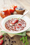 Σούπα τσίλι με τα κόκκινα φασόλια και τα πράσινα στοκ εικόνα