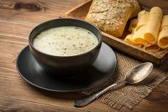 Σούπα τυριών σε ένα μαύρο πιάτο στο αγροτικό υπόβαθρο Στοκ Φωτογραφίες
