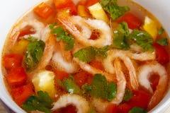 Σούπα των φρέσκων λαχανικών με τις γαρίδες Στοκ Εικόνες