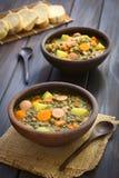 Σούπα φακών με το λουκάνικο Στοκ Εικόνα