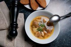 Σούπα φασολιών στο άσπρο πιάτο με το κουτάλι μετάλλων, διάφορη φρυγανιά στο μόριο Στοκ Εικόνα