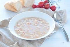 Σούπα φασολιών Borlotti με το ελαιόλαδο ντοματών και Στοκ εικόνα με δικαίωμα ελεύθερης χρήσης