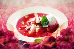 Σούπα φραουλών με το παγωτό και τη μέντα Στοκ φωτογραφία με δικαίωμα ελεύθερης χρήσης