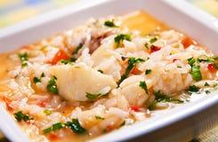 Σούπα-όπως το ρύζι με τους μπακαλιάρους Στοκ εικόνες με δικαίωμα ελεύθερης χρήσης
