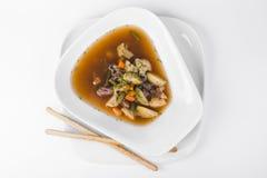 Σούπα Aries με το μπρόκολο, το μανιτάρι, τα πράσινα φασόλια και το λάχανο ι Στοκ φωτογραφίες με δικαίωμα ελεύθερης χρήσης