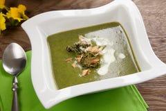 Σούπα Kale-πατατών με το αμύγδαλο Στοκ Εικόνες