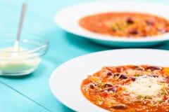 Σούπα Minestrone με το τυρί παρμεζάνας Στοκ φωτογραφίες με δικαίωμα ελεύθερης χρήσης