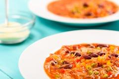 Σούπα Minestrone με το τυρί παρμεζάνας Στοκ Εικόνες