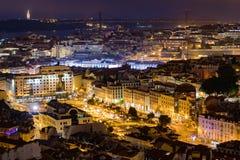 Σούρουπο στο κέντρο της παλαιάς ΕΕ της πόλης Λισσαβώνας Πορτογαλία στοκ φωτογραφίες με δικαίωμα ελεύθερης χρήσης