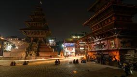 Σούρουπο Bhaktapur στο νύχτα-σφάλμα, Νεπάλ απόθεμα βίντεο
