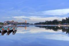 Σούρουπο Longzhouchi (λίμνη βαρκών δράκων), κωμόπολη jimei, amoy πόλη, Κίνα Στοκ Εικόνες