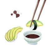 Σούσια αβοκάντο Nigiri που βυθίζουν στη σάλτσα σόγιας και το τεμαχισμένο αβοκάντο, που τρώνε την απεικόνιση σουσιών που απομονώνε Στοκ Φωτογραφίες