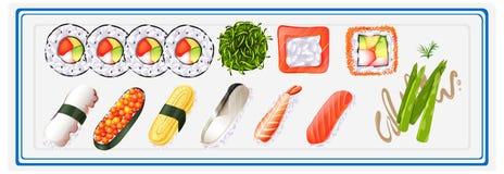 Σούσια που τίθενται ιαπωνικά στο πιάτο ελεύθερη απεικόνιση δικαιώματος