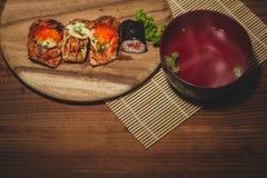 σούσια σολομών εστιατορίων καταλόγων επιλογής στοιχείων σχεδίου χρήσιμα πολύ στοκ εικόνα