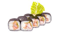 Σούσια της Maki με τα ψάρια. Nori Στοκ Εικόνα