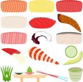Σούσια - Sashimi (φρέσκα ακατέργαστα ψάρια) Στοκ φωτογραφία με δικαίωμα ελεύθερης χρήσης