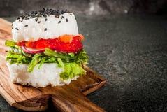 Σούσι-burger, σάντουιτς Στοκ Φωτογραφία
