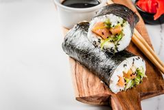 Σούσι-Burrito, σάντουιτς Στοκ Εικόνες