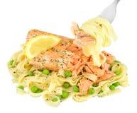 Σολομός και γεύμα ζυμαρικών Tagliatelle που απομονώνεται στο λευκό Στοκ Φωτογραφίες