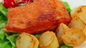 Σολομός που τηγανίζεται με τα λαχανικά φιλμ μικρού μήκους