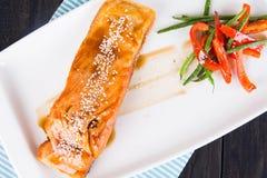 Σολομός στη σάλτσα teriyaki Στοκ φωτογραφία με δικαίωμα ελεύθερης χρήσης