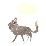 σπάζοντας απότομα λύκος κινούμενων σχεδίων με τη λεκτική φυσαλίδα Στοκ Εικόνα