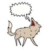 σπάζοντας απότομα λύκος κινούμενων σχεδίων με τη λεκτική φυσαλίδα Στοκ Εικόνες
