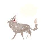 σπάζοντας απότομα λύκος κινούμενων σχεδίων με τη σκεπτόμενη φυσαλίδα Στοκ Εικόνες