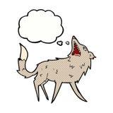 σπάζοντας απότομα λύκος κινούμενων σχεδίων με τη σκεπτόμενη φυσαλίδα Στοκ Φωτογραφία