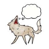 σπάζοντας απότομα λύκος κινούμενων σχεδίων με τη σκεπτόμενη φυσαλίδα Στοκ εικόνα με δικαίωμα ελεύθερης χρήσης