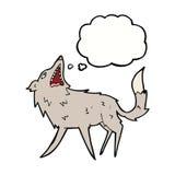 σπάζοντας απότομα λύκος κινούμενων σχεδίων με τη σκεπτόμενη φυσαλίδα Στοκ φωτογραφία με δικαίωμα ελεύθερης χρήσης