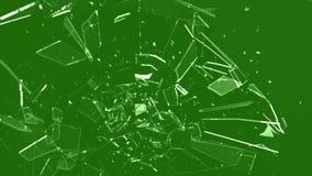 Σπάζοντας γυαλί - πράσινη οθόνη απόθεμα βίντεο