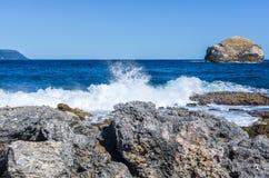 Σπάζοντας κύματα στην ακτή της Γουαδελούπης Στοκ εικόνες με δικαίωμα ελεύθερης χρήσης